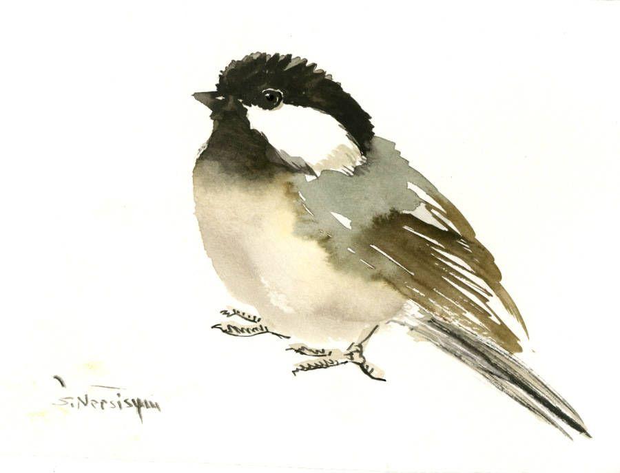 Chickadee Art Bird Artwork Gift Watercolor Painting 7 X 5