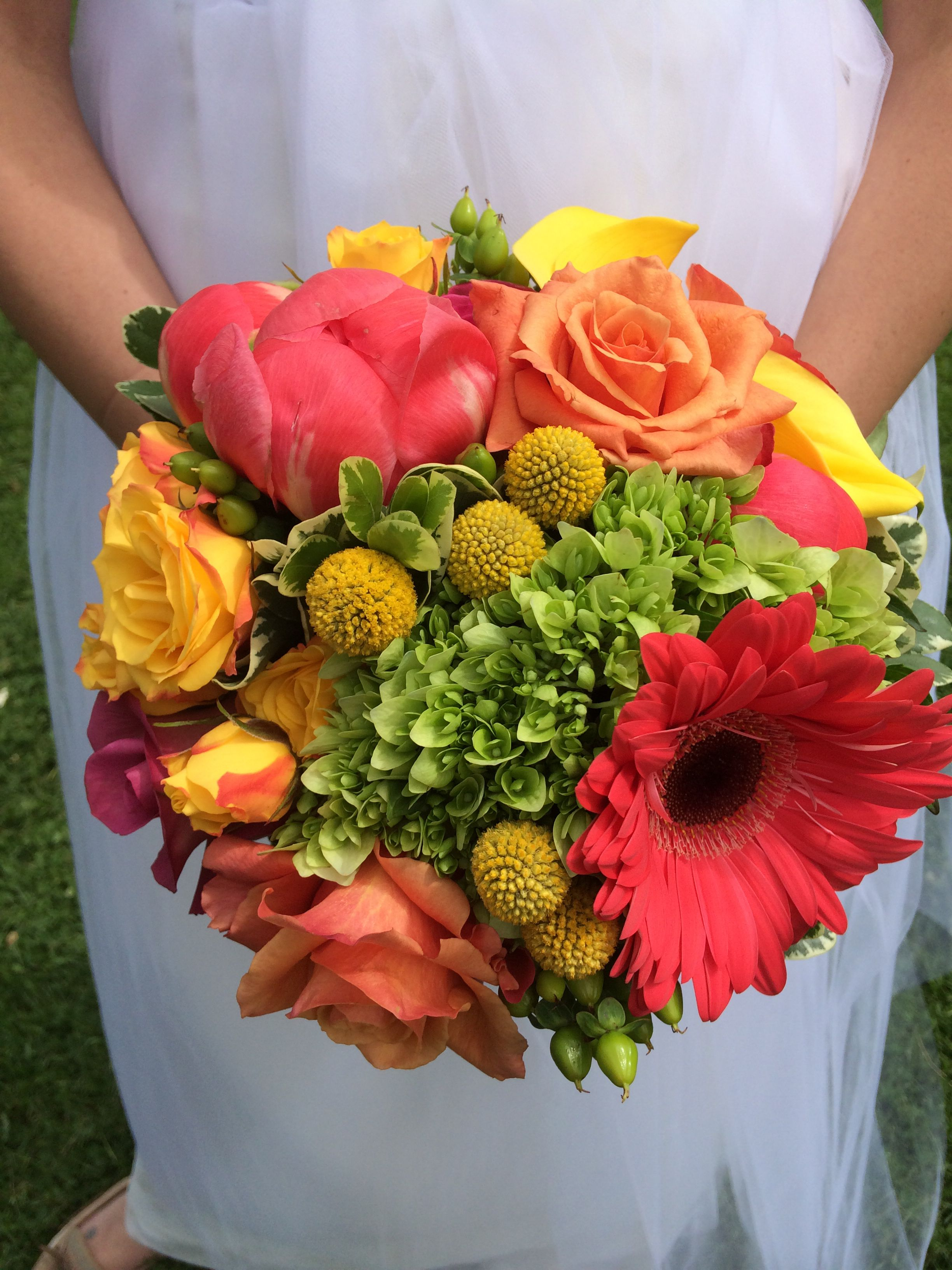 Coral Peony And Gerbera Orange And Yellow Roses Yellow Calla