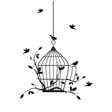 Small Birds on Birdcage Tattoo Design #smallbirds