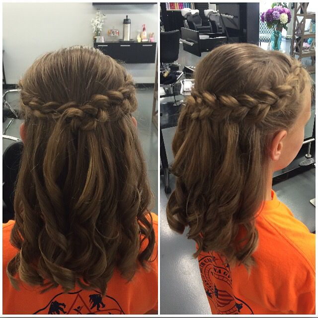 Kids Half Up And Half Down For A Wedding Hair Styles Short Hair For Kids Flower Girl Hairstyles