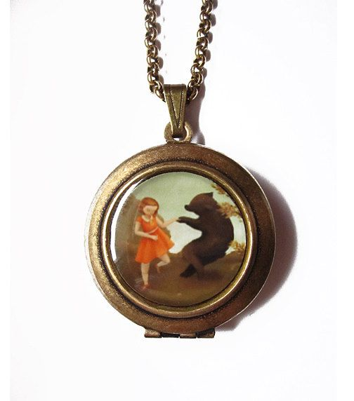 Round Black Apple Locket : Bear Dance