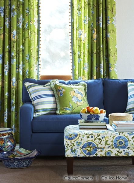 Best Garden Vista Fabric Collection Living Room View 2 Blue 400 x 300