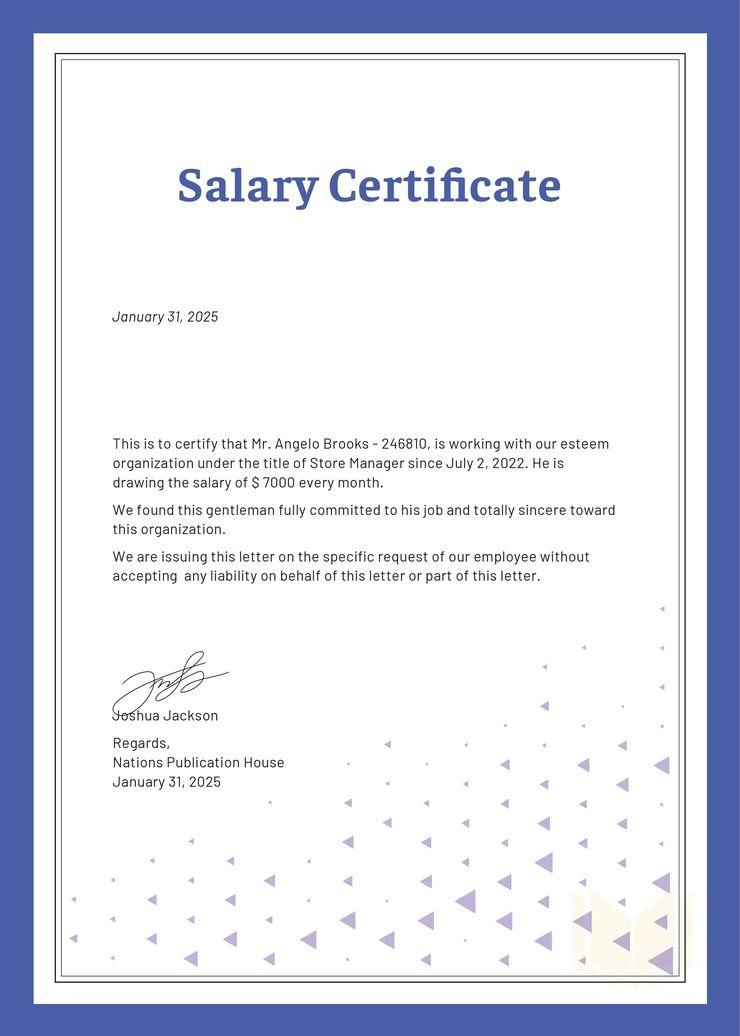 Free Salary Certificate