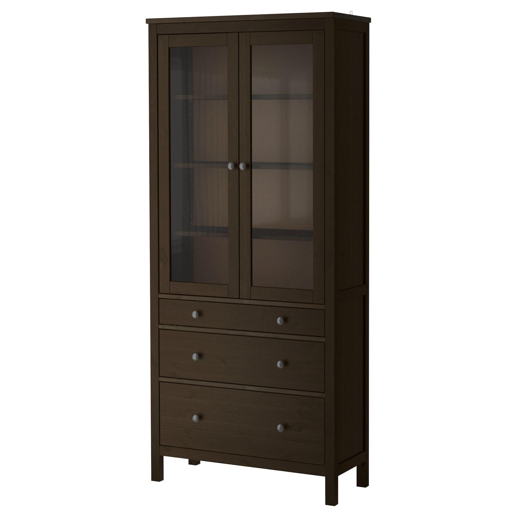 Hemnes Glass Door Cabinet With 3 Drawers Black Brown Ikea