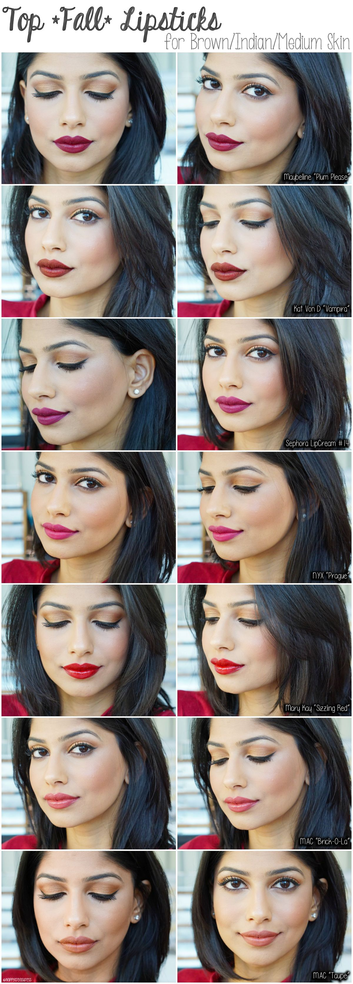 fall lipsticks for brown/medium/indian skin. favorite fall
