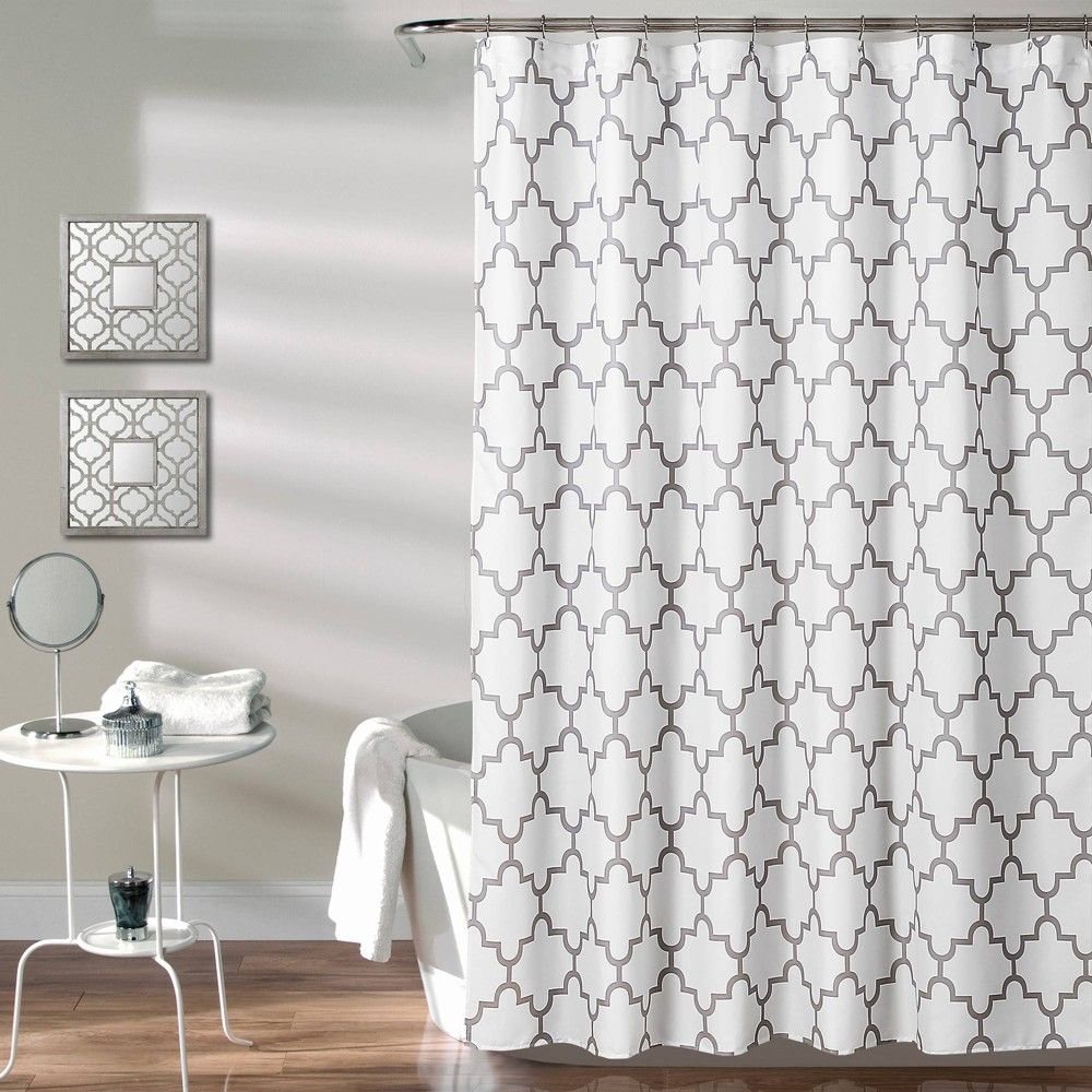 Geometric Shower Curtain Gray Lush Decor Geometric Shower