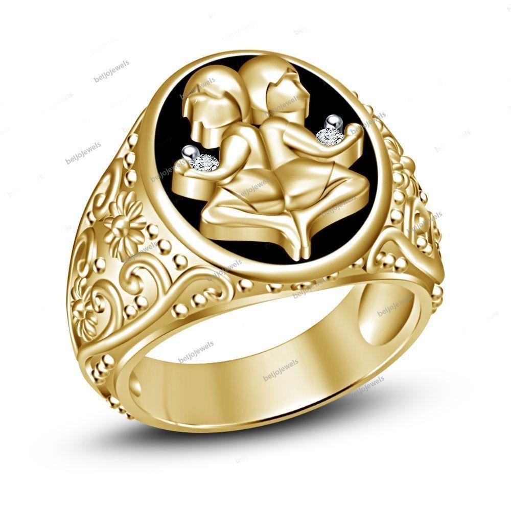 White Simulated Diamond Gemini Astrology Zodiac Sign Men's Band Ring Size 7-14…