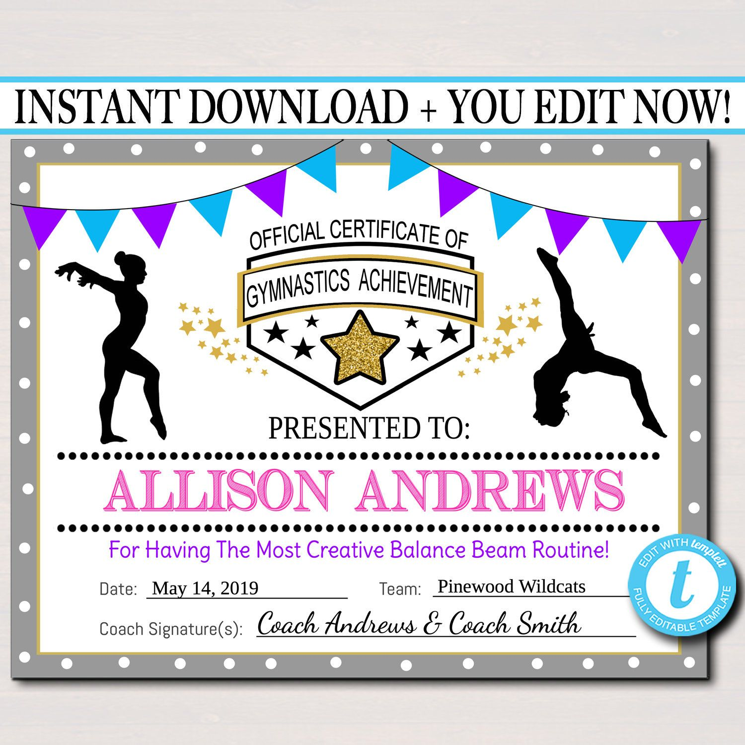 gymnastics certificates certificate printable editable awards team gymnast etsy instant award template gift templates boys gym sold events achievement printables