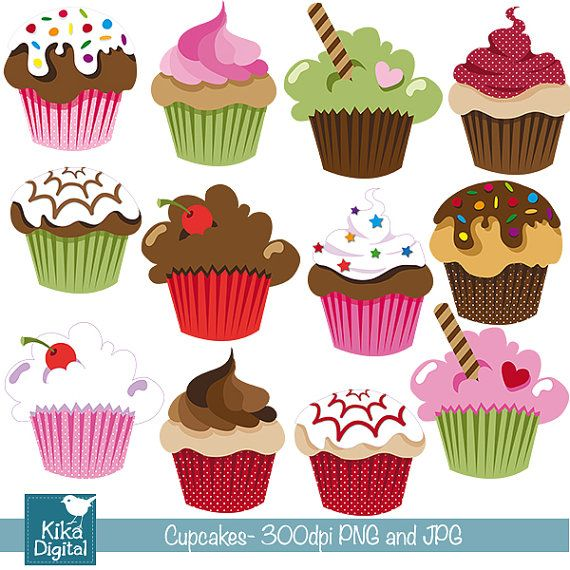 Cupcake Paper Design : INSTANT DOWNLOAD Cute Cupcakes - Digital Clipart ...
