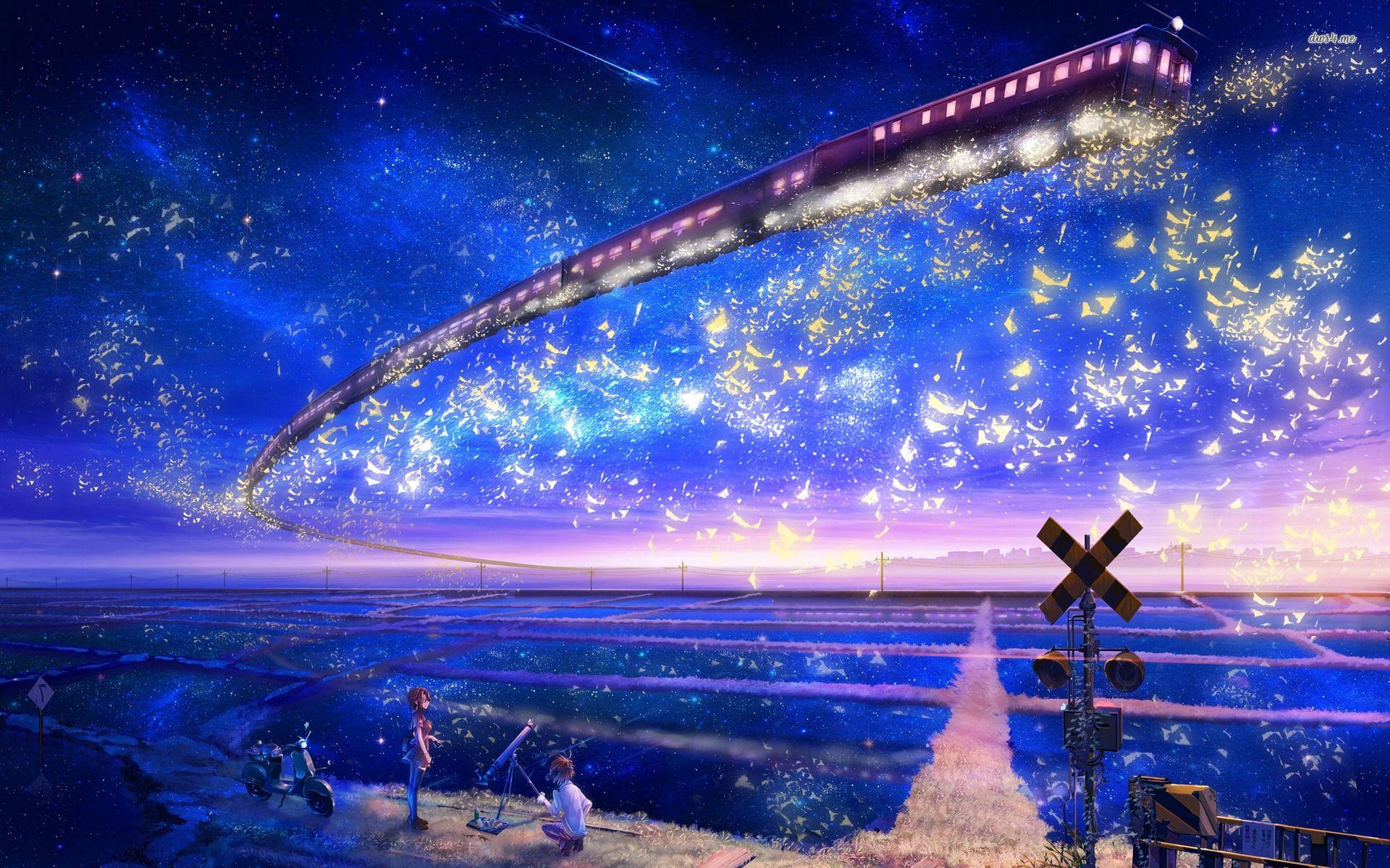 Anime Star Night Sky Tim Voi Google