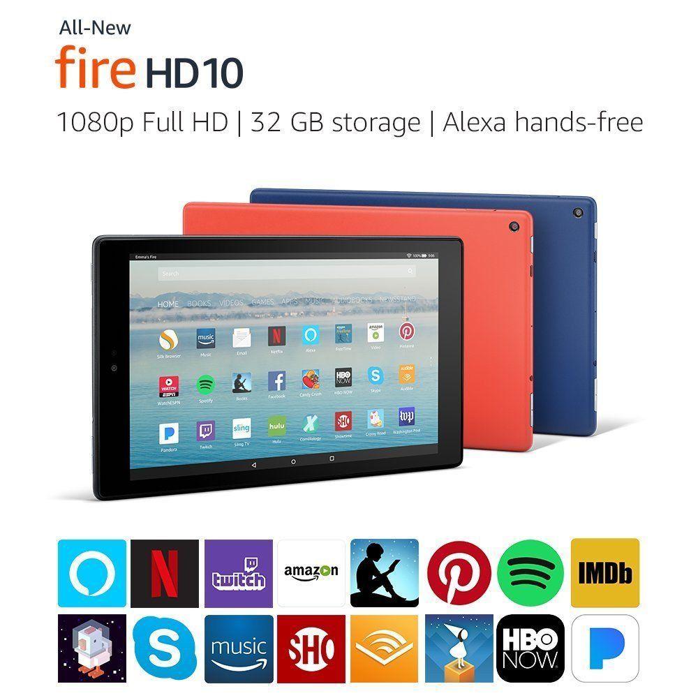 Amazon Fire Hd 10 10 1 Tablet 32gb 7th Generation 2017 Black Blue Red Fire Hd 10 Tablet Amazon Fire Tablet