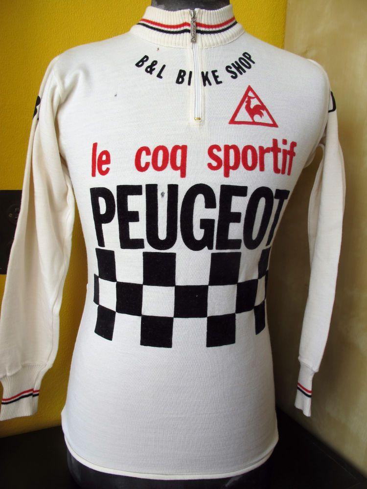 87e2a975d PEUGEOT coq sportif SUPERBE 70 S VINTAGE LS CYCLING JERSEY Sz XS S in  Jerseys