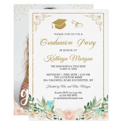 Blush Peach Fl Gold Glitter Photo Graduation Card Party Invitations Cards Cyo Grad