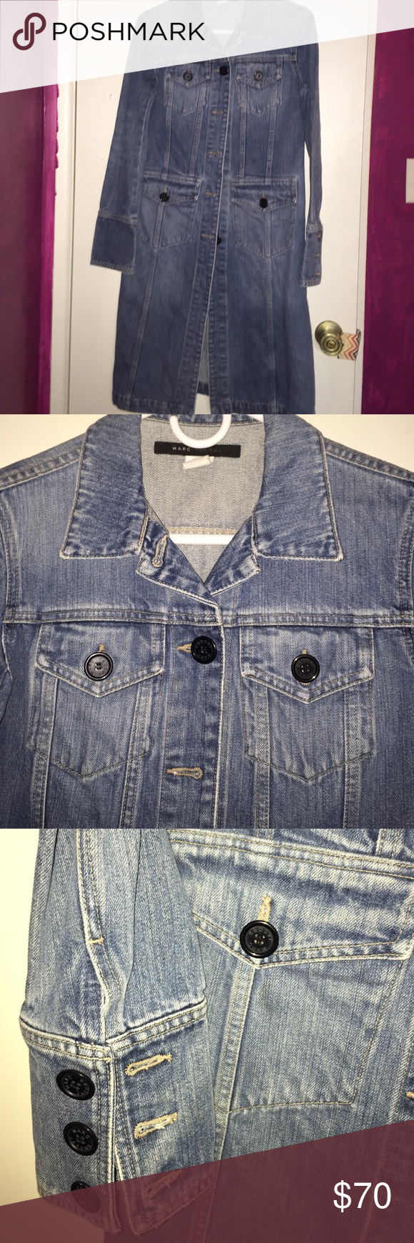 Classic Marc Jacobs denim trench This Marc Jacobs trench is so cute on. Hits midcalf. Just way too small for me now. Missing one black button towards the bottom. Easily found and sewn on but that's why I'm pricing it so low! Marc Jacobs Jackets & Coats Trench Coats