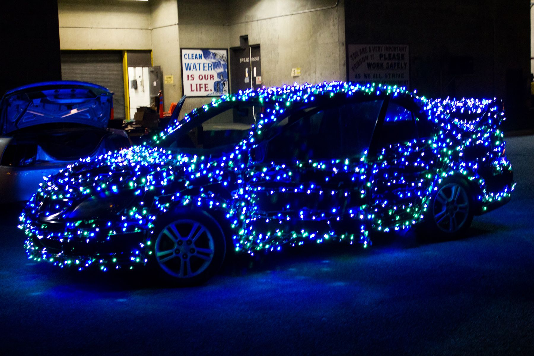 Blue Christmas Lights Christmas Car Spreads Holiday