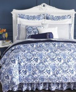 Pin By Susan Mcdonough On Home Decorating Blue And White Comforter White Linen Bedding Blue White Decor