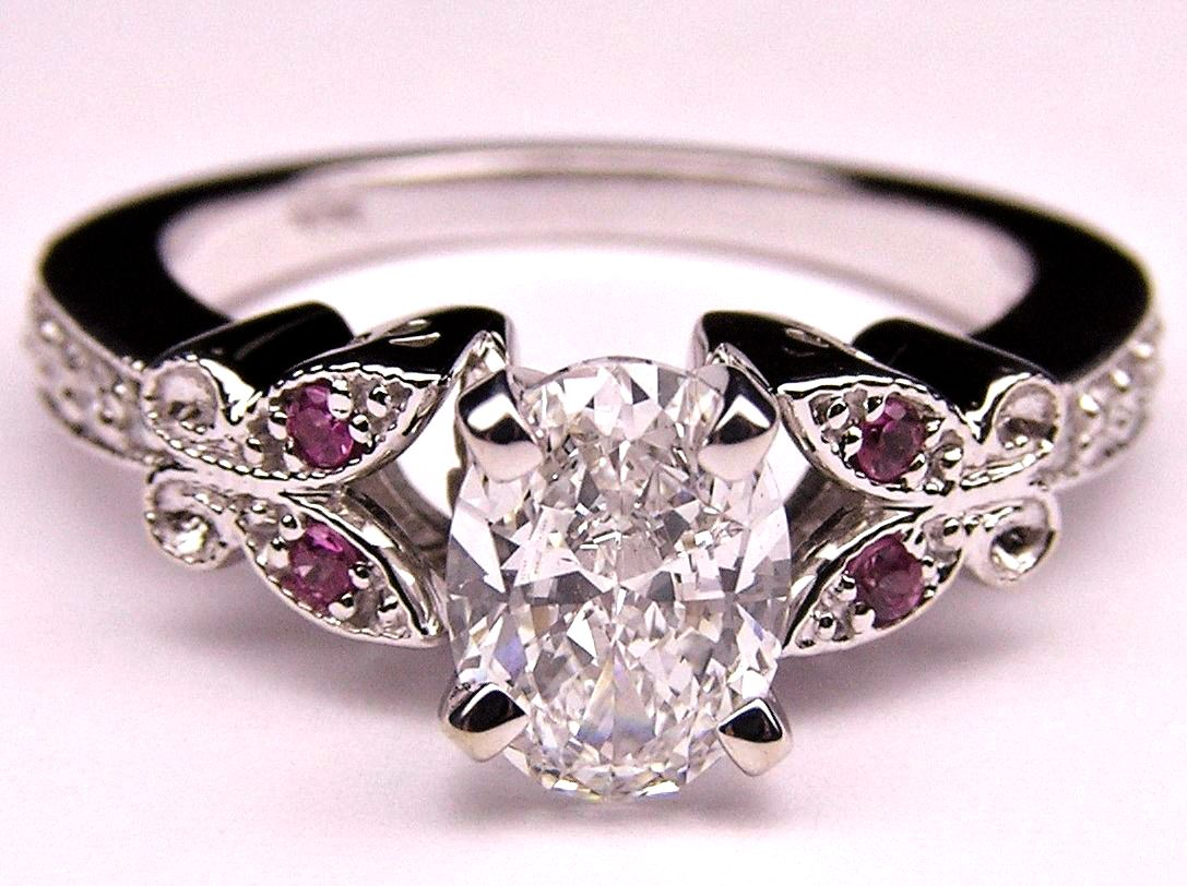 Oval Diamond Butterfly Pink Eyes Engagement Ring In 14K