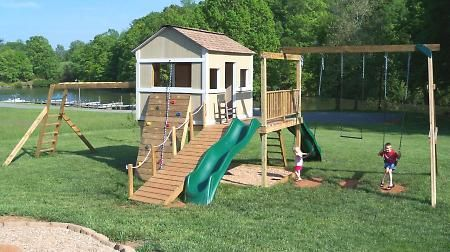 Simple clubhouse Ana White plan #swingset | Kid spaces ...
