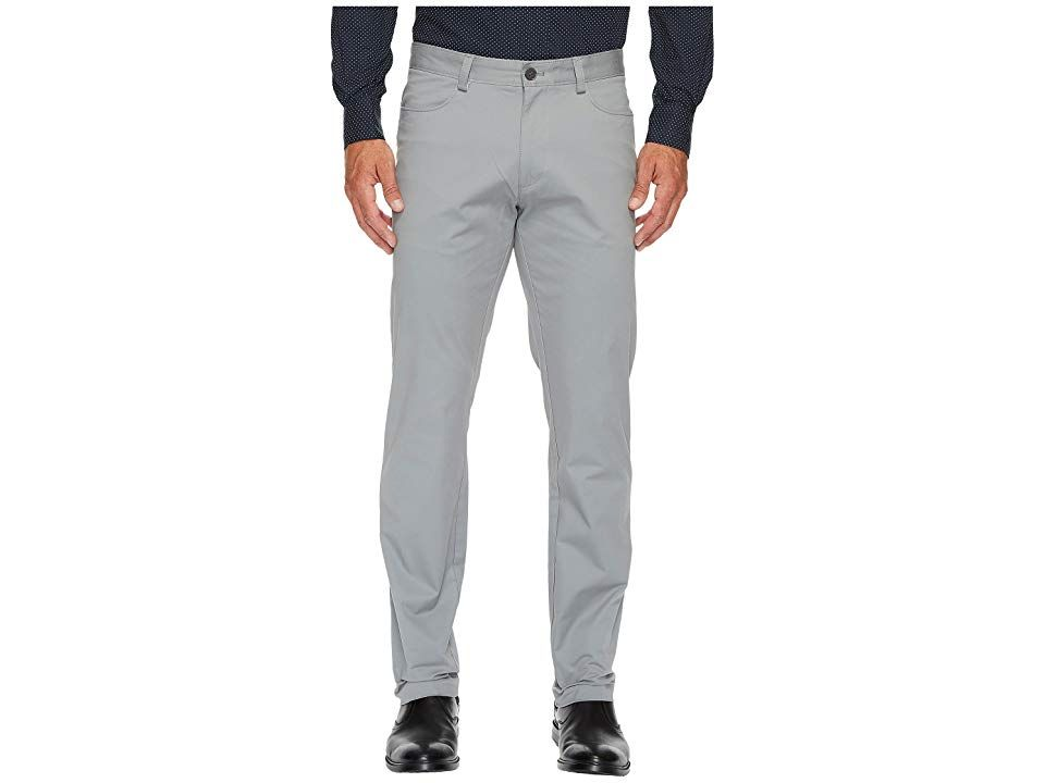 Calvin Klein Slim Fit 4Pocket Stretch Sateen Pant Convoy Mens Clothing A tailored Calvin Klein pant for a fashionforward man Slim fit through hip and thigh Sits on hip Fr...