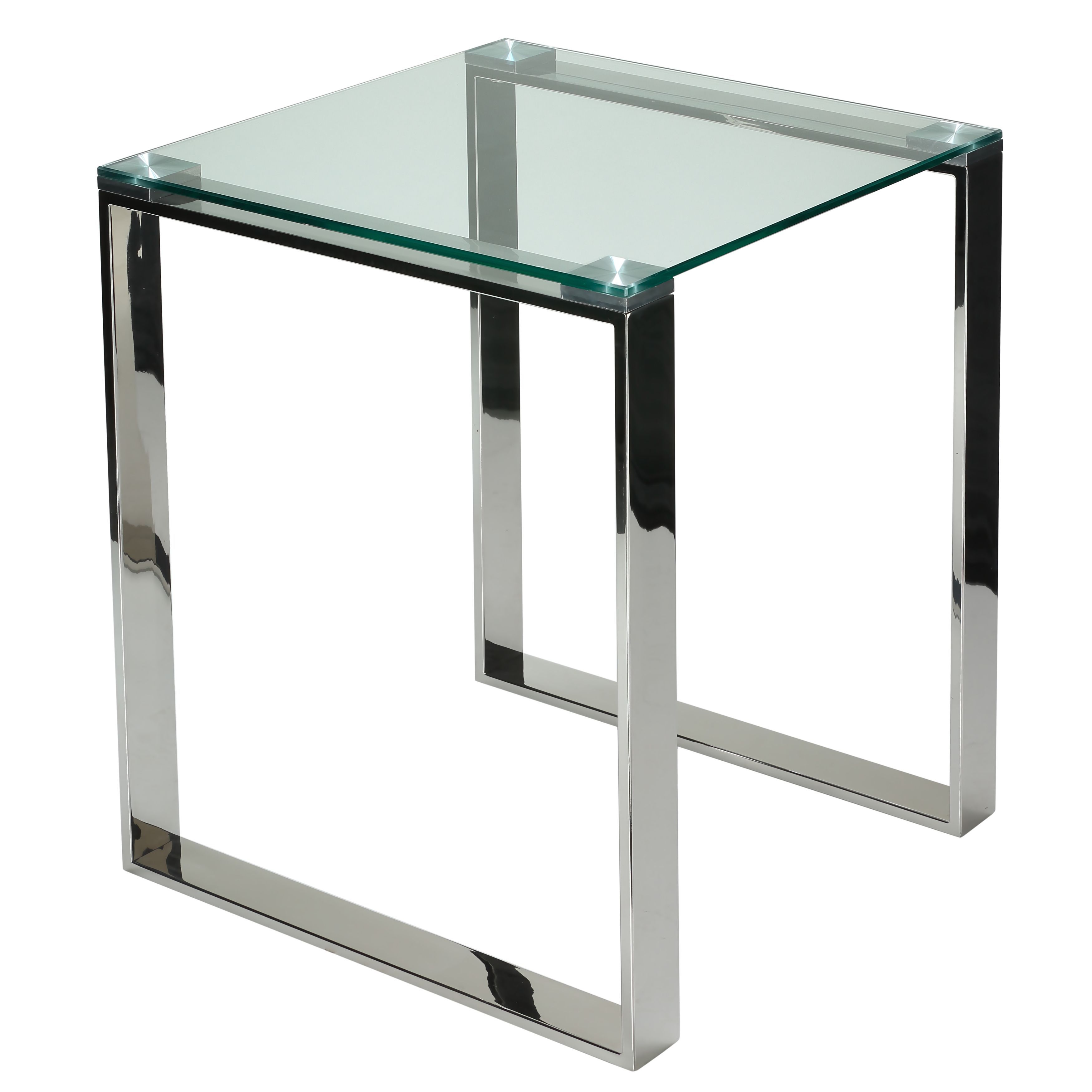 Modern glass end table  Cortesi Home Remi Contemporary Chrome Square Glass End Table CH