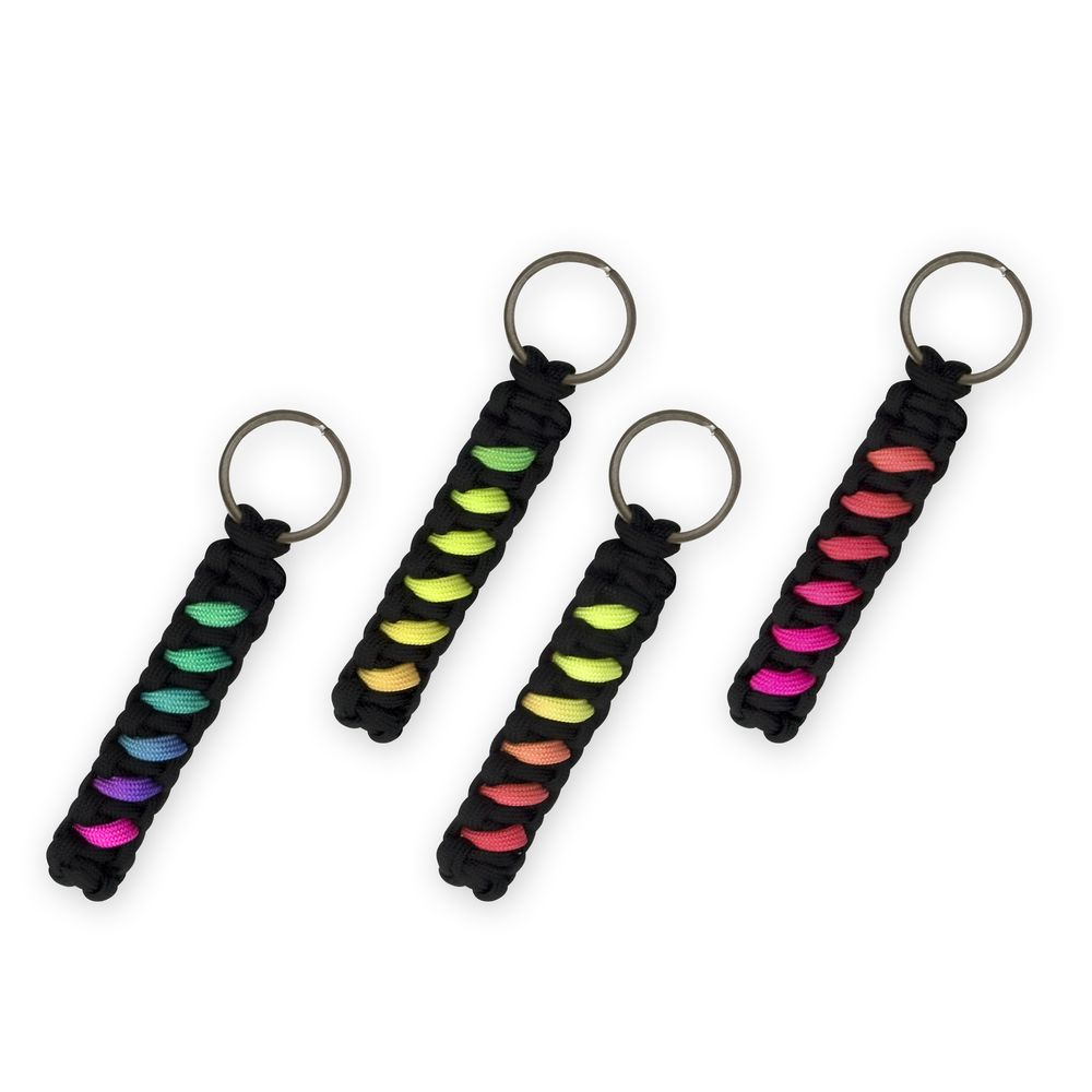 """This durable paracord keychain makes a handy fidget when you're away from home. It's hand-woven from tough nylon paracord to withstand daily wear and tear. A great """"away from home"""" fidget/stim toy. Enjoy stimming while showing of your autie pride with a spectrum themed lanyard."""