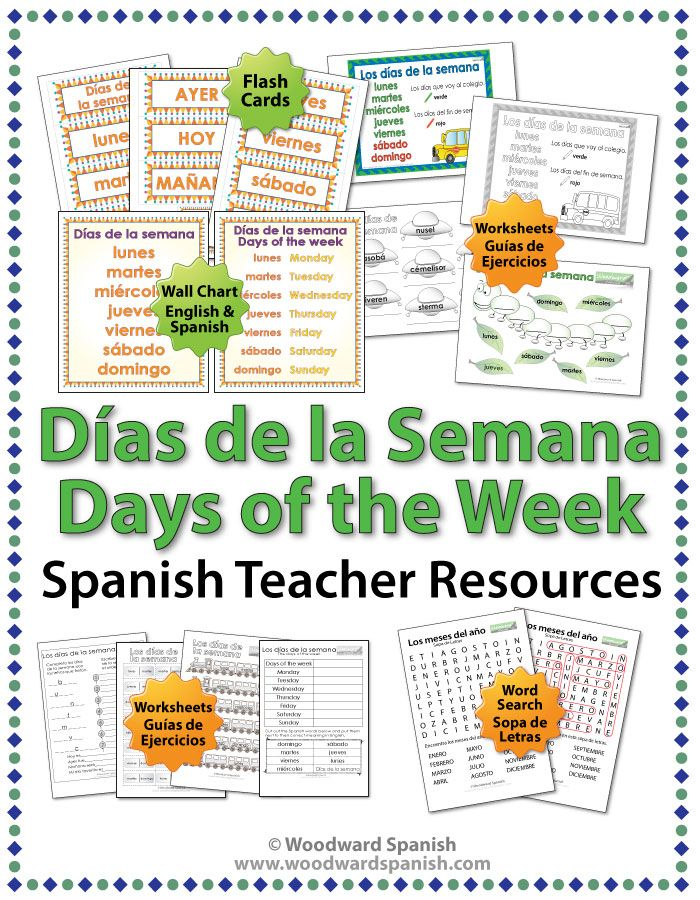 days of the week in spanish worksheets wall charts and flash cards spanish teacher word. Black Bedroom Furniture Sets. Home Design Ideas