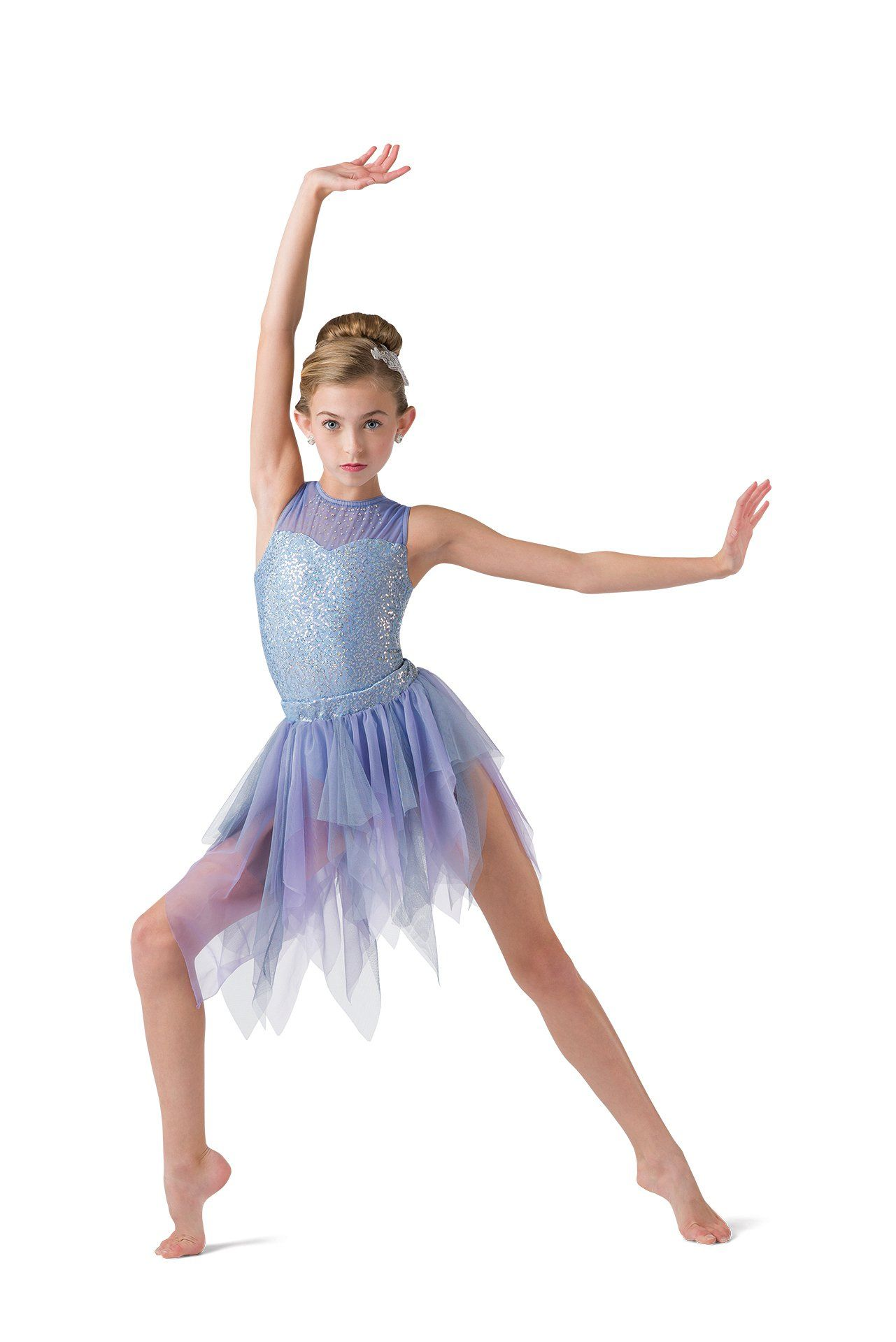 NWT LYRICAL BALLET DANCE COSTUME ch//Ad Chiffon Flyers Gold Braid Green clearstrp