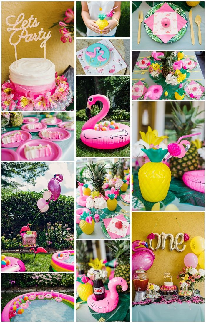 First Birthday Party with Flamingo and Pineapple Theme