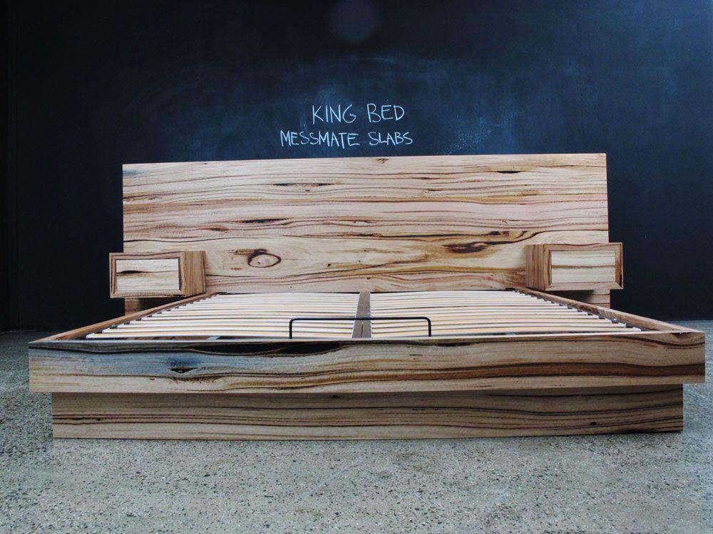 Custom Messmate Flat head board incorporated bedsides