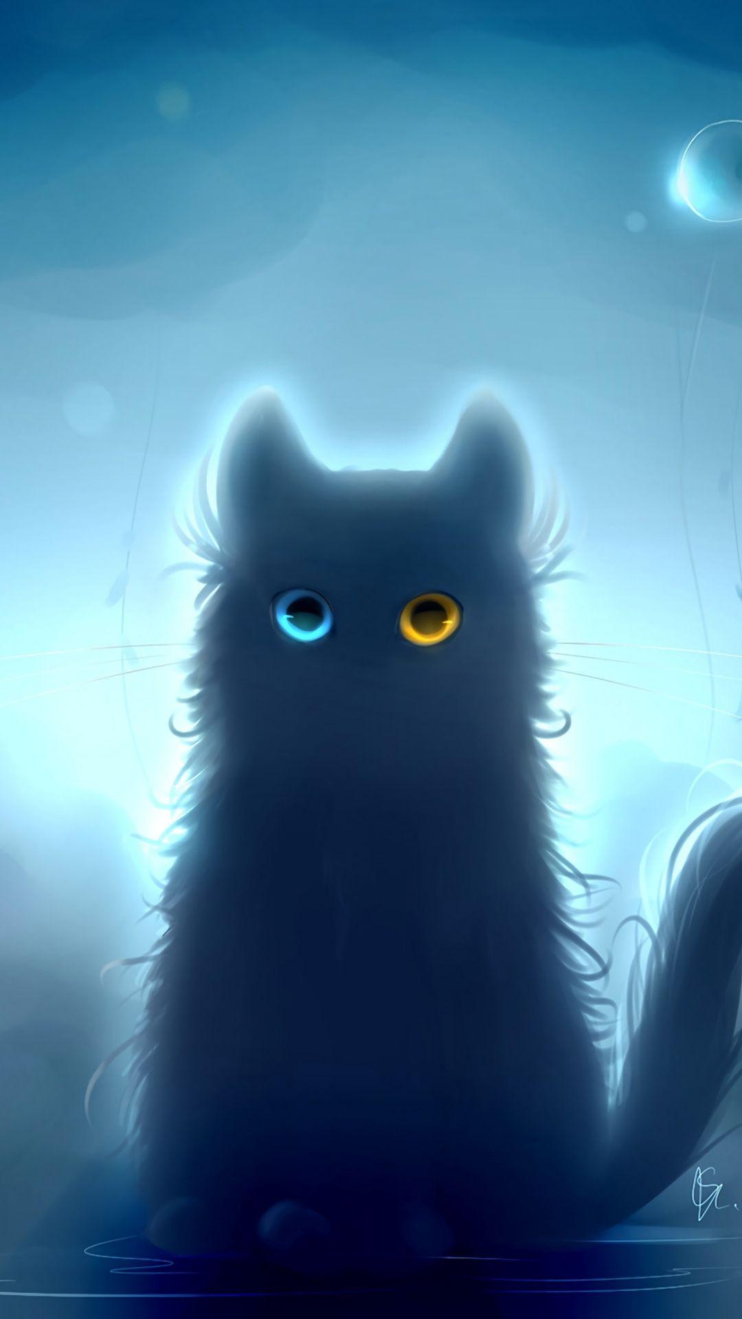 Art Heterochromia Black Cat Fantasy 1080x1920 Wallpaper Android Phone Wallpaper Cat Wallpaper Art