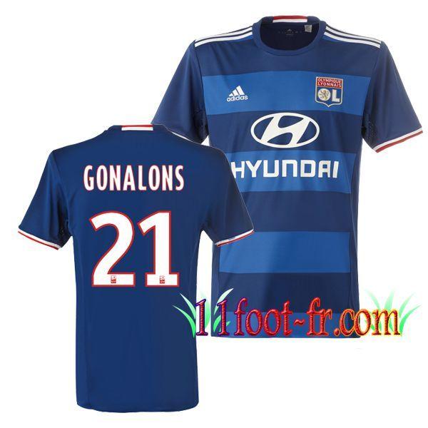 Maillot de Olympique Lyonnais OL 2016/17 Homme GONALONS 21 Exterieur Bleu Manche Courte   Personnaliser en Thailande