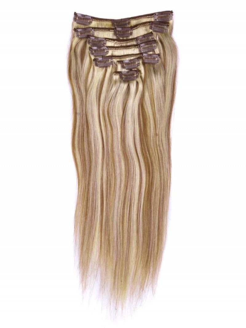 Brownblonde8613 15 7pcs Straight Clip On Human Hair Extensions