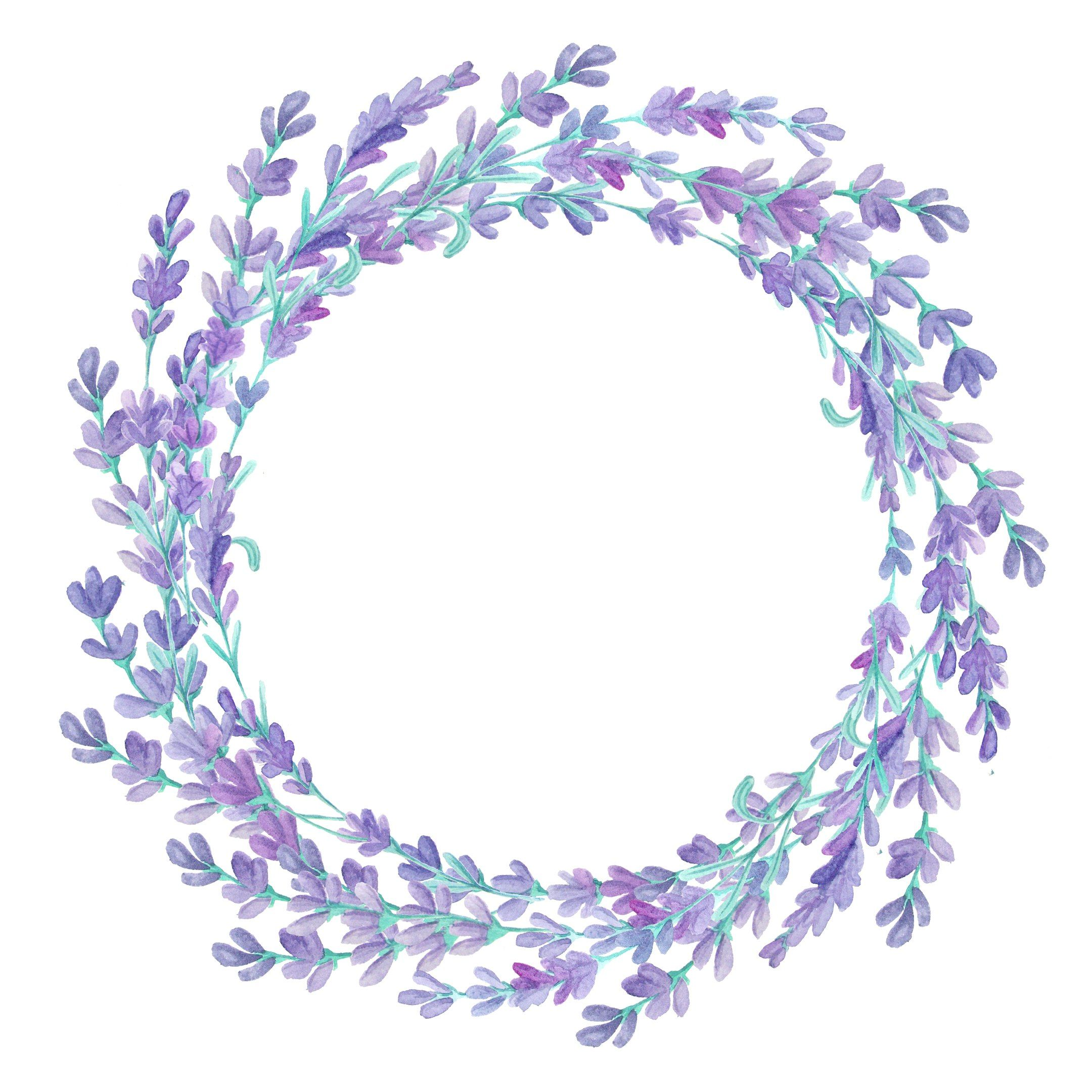Art Flowers Cute Illustration Lavender Wreath Watercolor Flower Frame Flower Png Images