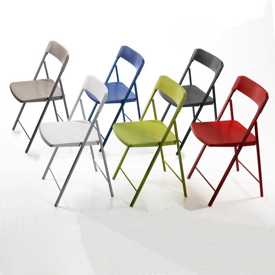 Sedie Acciaio E Plastica.6 Sedie Pieghevoli Zeta In Acciaio E Plastica Multicolor Sedie