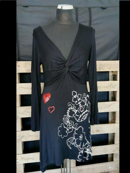 damen kleid tunika desigual gr. 40 - schwarz weiss rot