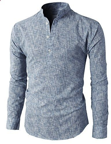 H2h Mens Casual Henley Button Down Slim Fit Rollup Sleeve Shirt Navy