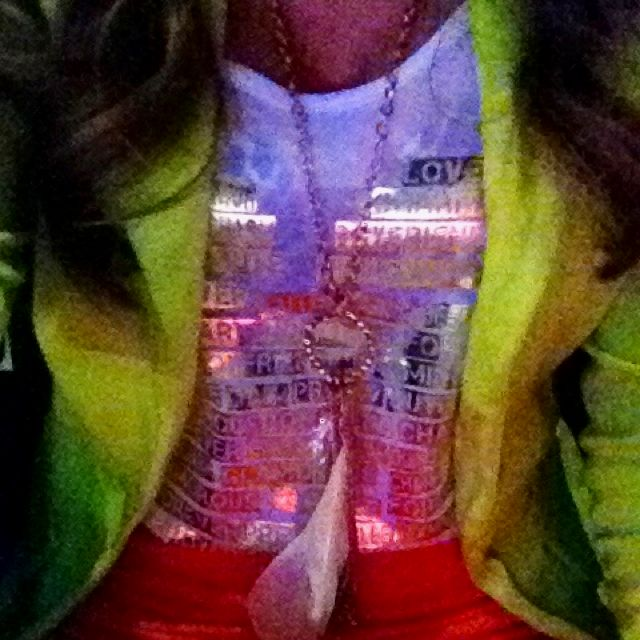 Lime green blazer. Coral skirt. <3