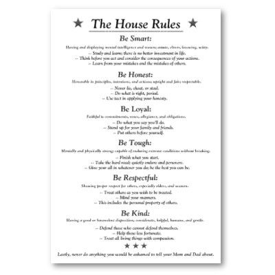 The house rules v3white poster house rules house and for House rules chart template
