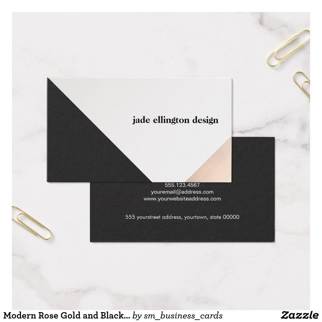Modern rose gold and black abstract geometric business card modern rose gold and black abstract geometric business card reheart Choice Image