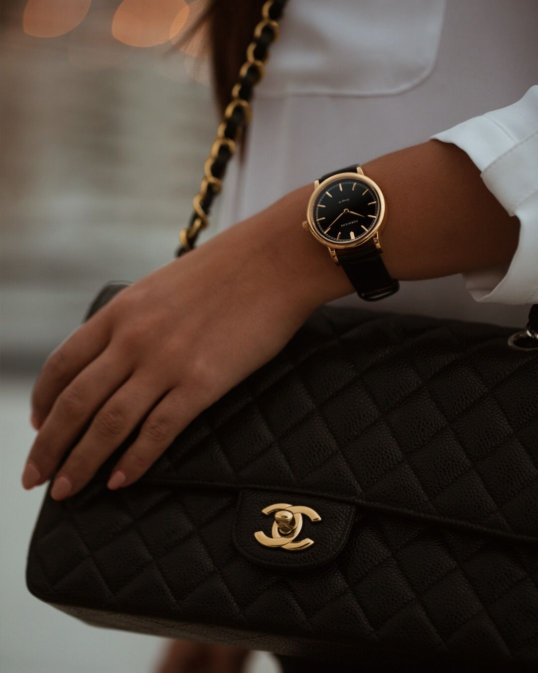 863590ac2 Stylish black watch for Women from Corniche Watches // Womens Heritage 36 -  Yellow Gold with Black Dial
