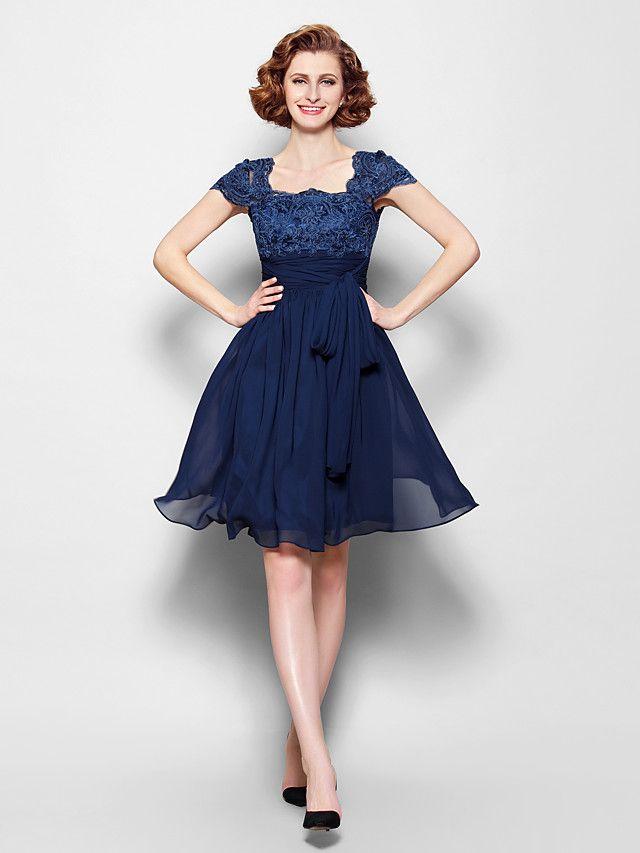 eb4c9da16 Vestido de Madrina - Azul Marino Oscuro Corte A Hasta la Rodilla - Manga  Corta Gasa Encaje - USD   89.99