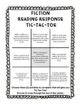 Fiction Reading Response Tic Tac Toe  Tic Tac Toe Fiction And