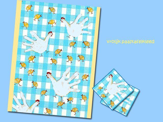 papieren tafelkleed, verf en een paar kleine handjes. Vrolijk Pasen! Lees de blog www.dewereldvanwiepje.nl