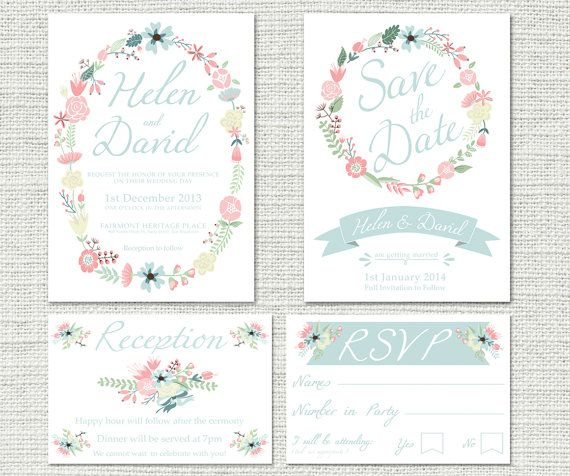Wedding Invitation Package Fully Customisable Includes Save