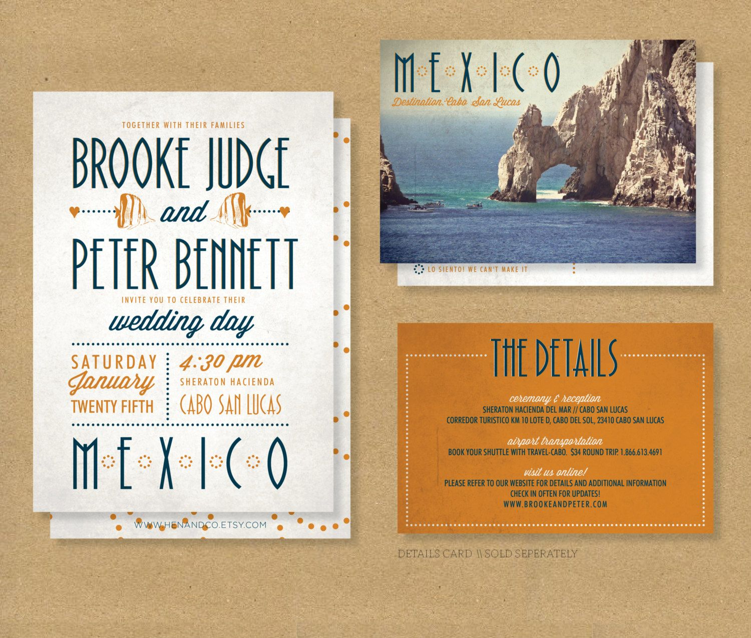 TROPICAL DESTINATION Wedding Invitation // Printable by HENANDCO ...