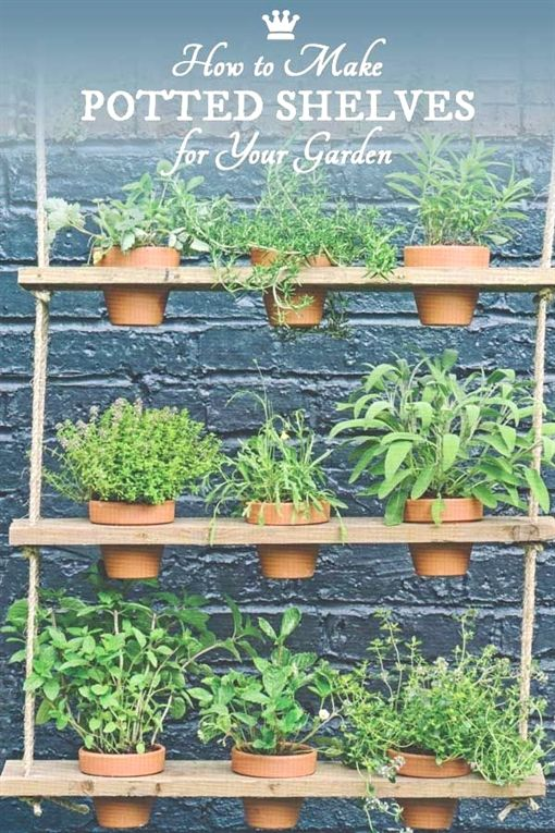These hanging potted shelves from the book Big Ideas for Small Spaces offer a creative way to add vertical green space to your little garden Grow a mini herb garden or ad...
