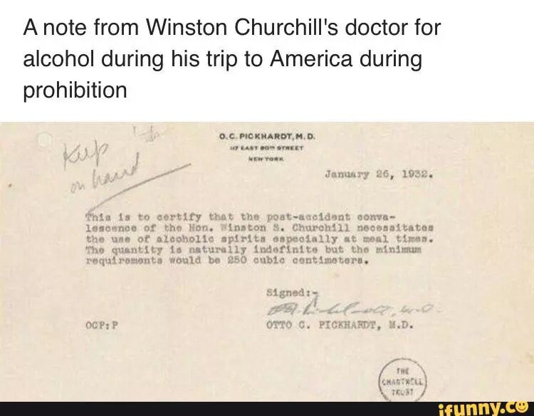 Doctor Note For Churchill To Drink Alcohol During The Prohibition