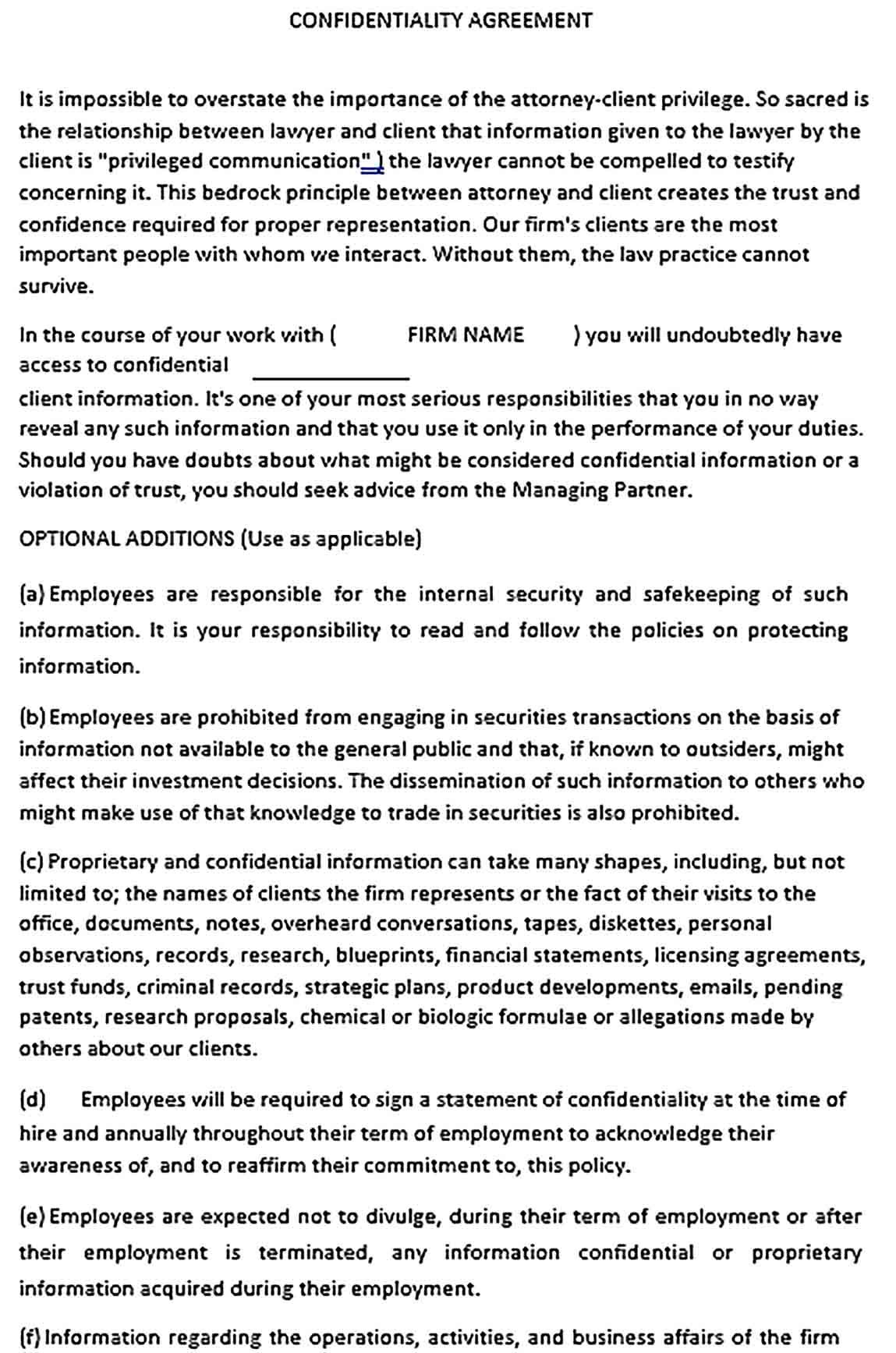 Confidentiality Agreement Forms Template Sample Agreement Templates Business Template Free confidentiality agreement template download