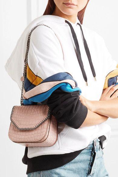 f04e0a491d72 Stella McCartney - The Falabella Box Mini Croc-effect Faux Leather Shoulder  Bag - Blush