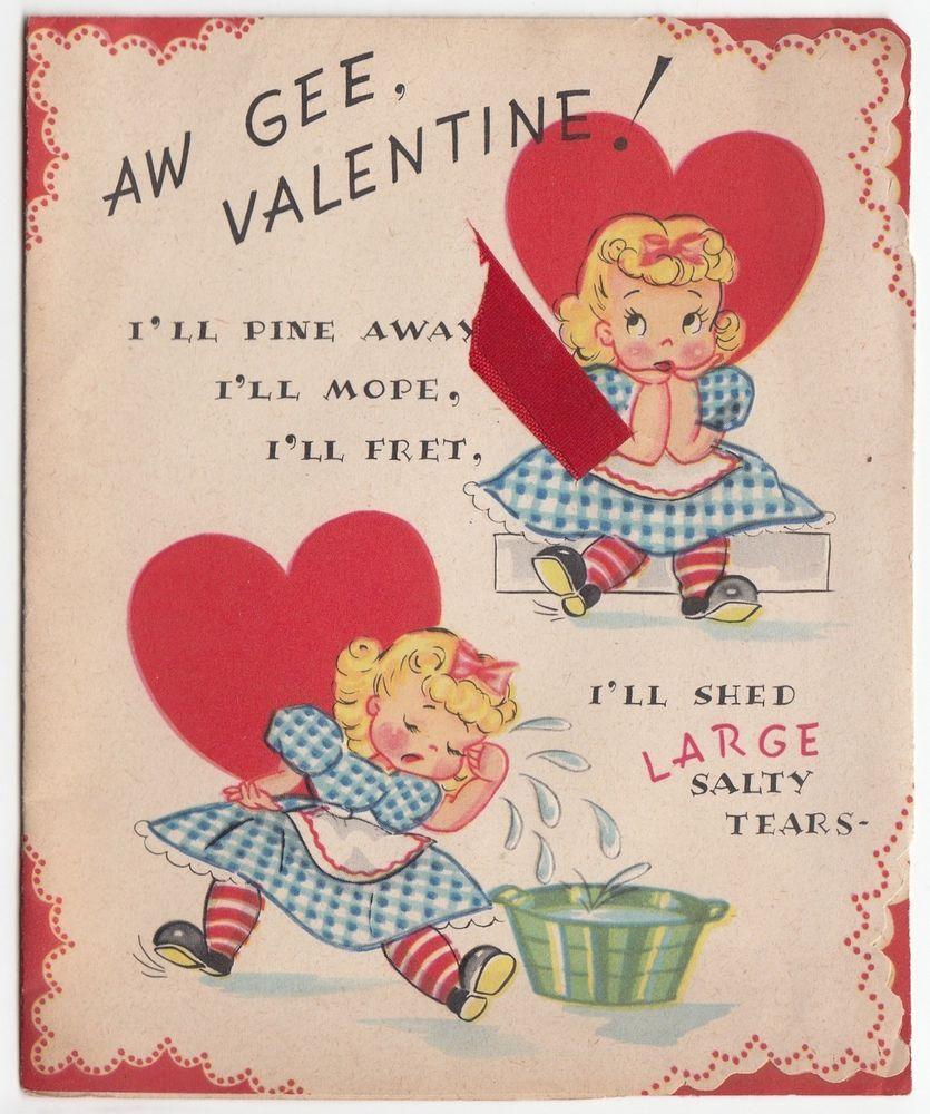 Vintage Greeting Card Valentines Day Girl Unused J140 Vintage